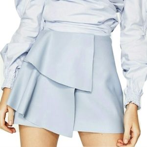 NWT Zara Blue Faux-Leather Mini Skirt